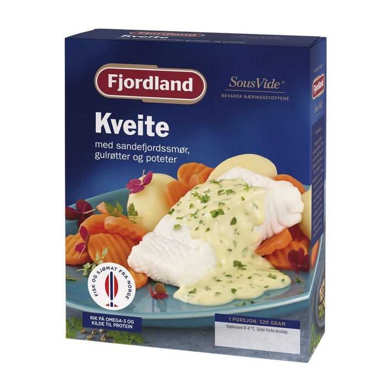 Kveite m/ Sandefjordsmør, Gulrøtter og Poteter